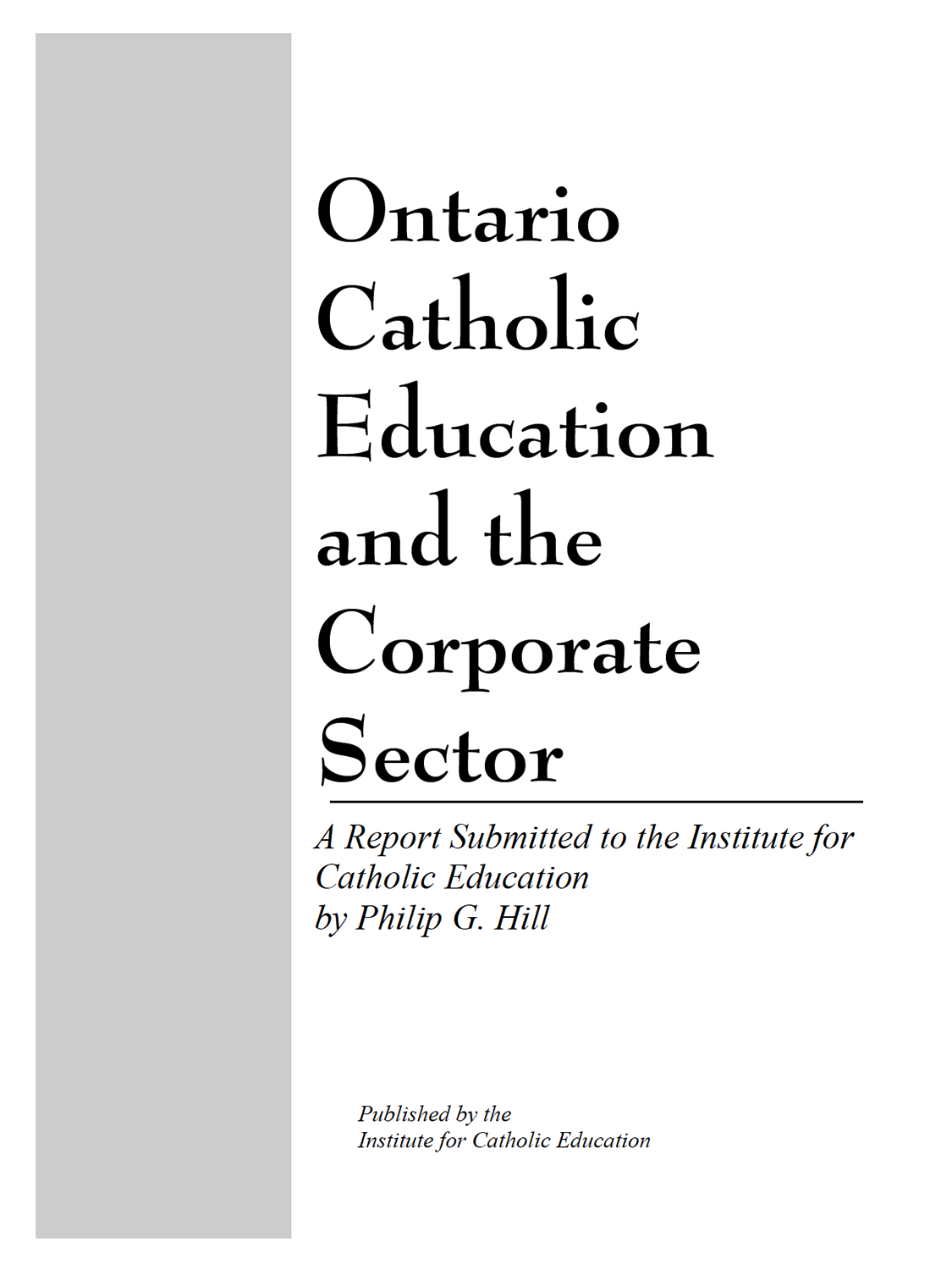 Ontario Catholic Education and the Corporate Sector