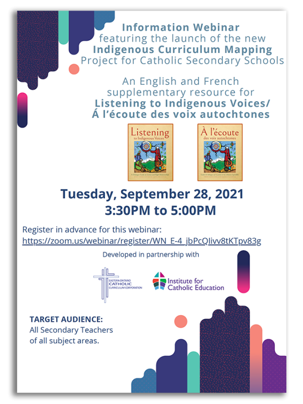 Information Webinar featuring the launch of the new Indigenous Curriculum Mapping Project for Catholic Secondary Schools